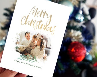 Photo Christmas Cards - Foil letters - Holiday Personalised Christmas Card - Custom Christmas Card Set - Seasons Greetings