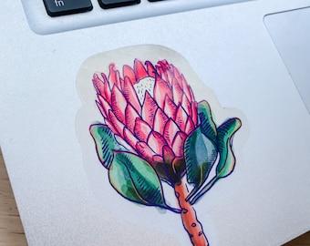 Protea flower sticker     Semiclear Sticker   Planner sticker   Watercolour Illustration