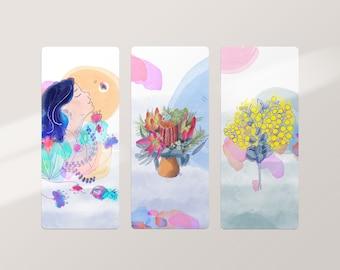 Botanical Bookmarks, Set of 3 Illustrated Australian Flower Bookmark, Botanical Stationery, Teacher Gift, Book Lovers Gift