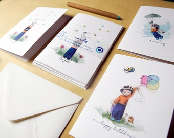 Greeting Card Pack of 3 - Kids Art Cards Multipack - Watercolour Illustrated Set  - Blank Inside