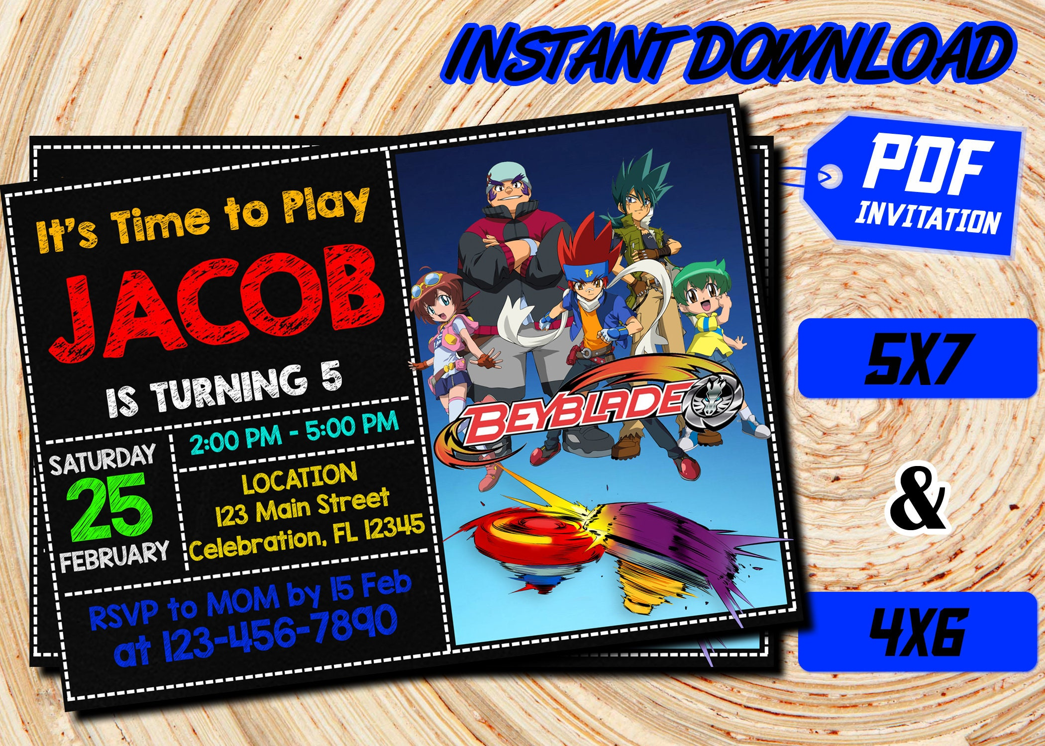 Beyblade Invitation Beyblade Invitation Instant Download Etsy