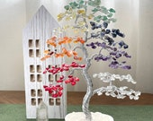 Chakra Bonsai Crystal Tree, Gemstone Tree, Natural Crystal Tree, Raw Stone Chip Tree, Healing Tree