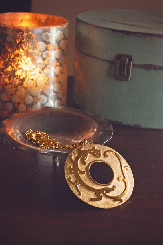 Vintage Trifari Dragon Gold Medallion Necklace  *
