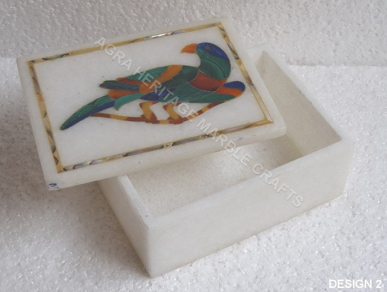 4x3x2 White Marble Jewelry Box Elephant Parrot Inlay Design Occasional Gift Decor
