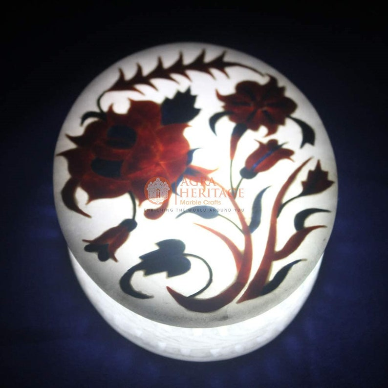White Marble Round Jewelry Lidded Box Precious Gemstone Floral Art Black Friday Gift