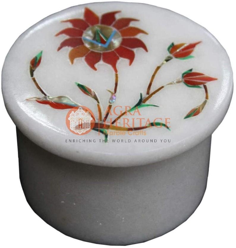 2x2 Marble White Handmade Trinket Ring Box Carnelian Floral Marquetry Art Veterans Gift