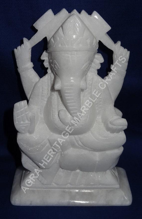 White Marble Ganpati Ganesha God Statue Handmade Art Hinduism Etsy