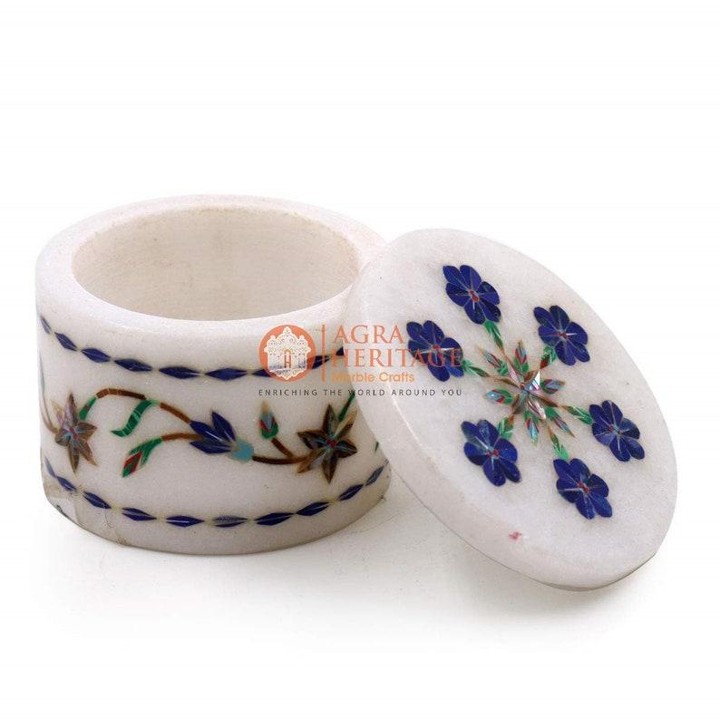 Marble Lapis Lazuli Marquetry Decorative Ring Storage Box Decor Gift