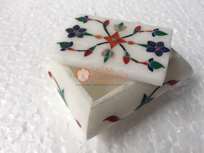 3x2x2 White Marble Handmade Jewelry Box Inlay Floral Design Veterans Gift Decor