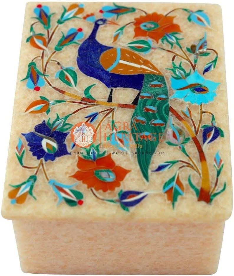Beautiful Peacock Semi Precious Floral Art Jewelry Vintage Box Decoration Gift Her