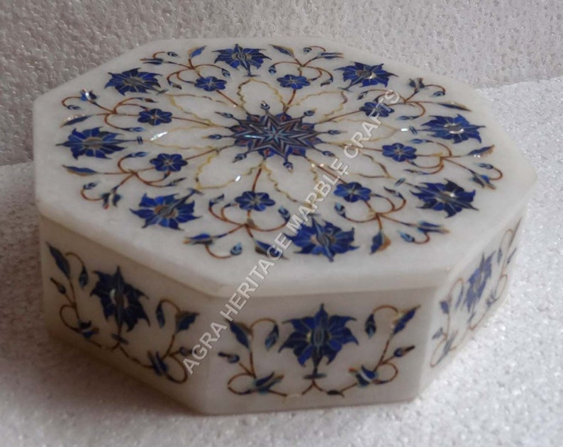 8x8x3 Beautiful White Marble Girls Jewelry Box Lapis Lazuli Inlay Floral Arts Occasional Gift Decor