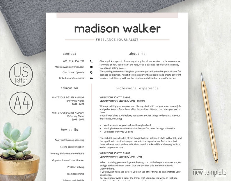Resume Template, 2 Page Resume, Resume Template Pink, CV Template, CV  Design, Resume with Cover Letter, Creative Resume, Resume Word