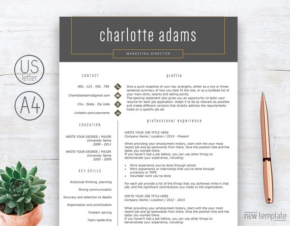 Professional Resume Template Instant Download Resume Design Cv Template Modern Resume With References Cover Letter 2 Page Resume