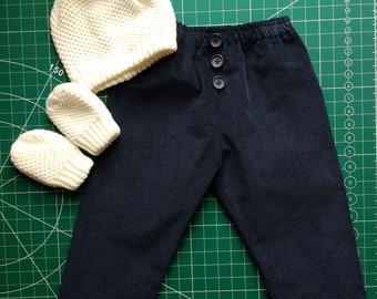 e816f435c193eb Unisex trousers, age 1/2 years, corduroy, elasticated waist, navy blue,  handmade, unique, free P&P