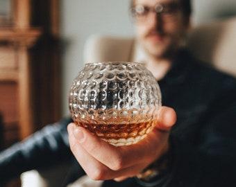 Golf Ball Whiskey Glass, Rock Glass, Bourbon Glass, Groomsmen Gift or Golf Gift (Set of Two)   Whiskey Glasses