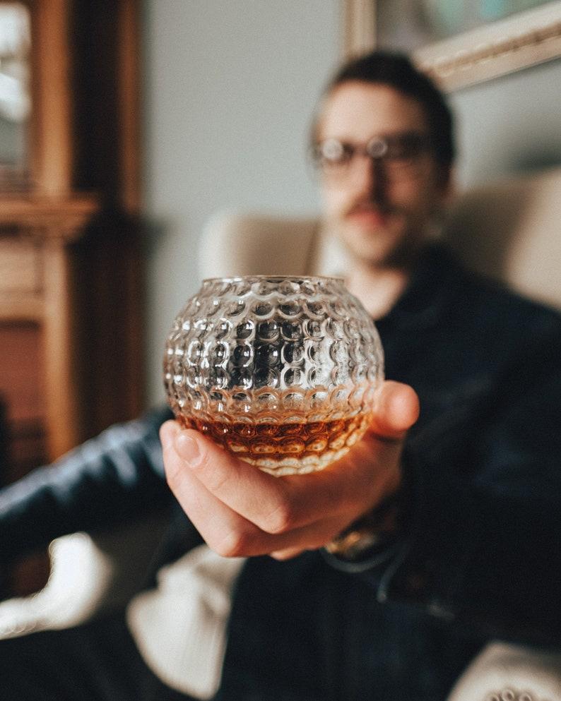 Golf Ball Whiskey Glass Rock Glass Bourbon Glass Groomsmen image 0
