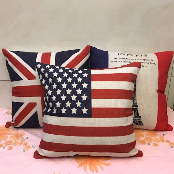 """18/"""" The Union Jack Linen Throw Cushion Cover Stars And Stripes Pillow Case Decor"""