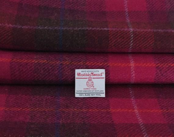 Harris Tweed Fabric Pink 100/% Wool Tartan Check Craft Quilting Sewing /& Labels