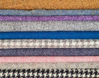 Harris Tweed Fabric Plain Herringbone Houndstooth Dogtooth Weave Pink Lilac Blue Grey Green Orange Heather