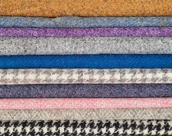 Harris Tweed Fabric Plain Herringbone Dogtooth Houndstooth Free Label Included