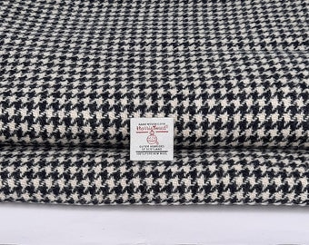 Harris Tweed Fabric Black and White Houndstooth Dogtooth Free Label Included
