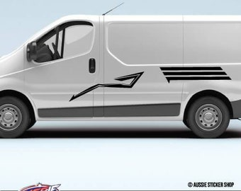 6X Van Caravan Stripes Sticker Caravan Adventure Camping Decals Stickers Mountains Cars Bumpers Laptop