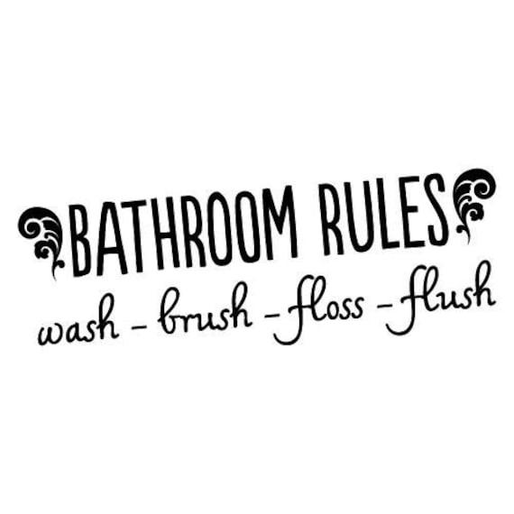 Bathroom Rules Wash Flush Brush Wall Art Vinyl Decal Sticker V17