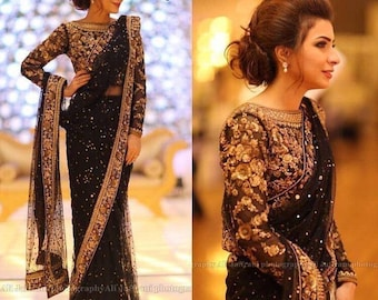 c719b6b94b Black saree Net SAREE With Stitched Blouse and petticoat Embroidered saree,  saree blouse, saree for women, sarees, sari, silk saree,