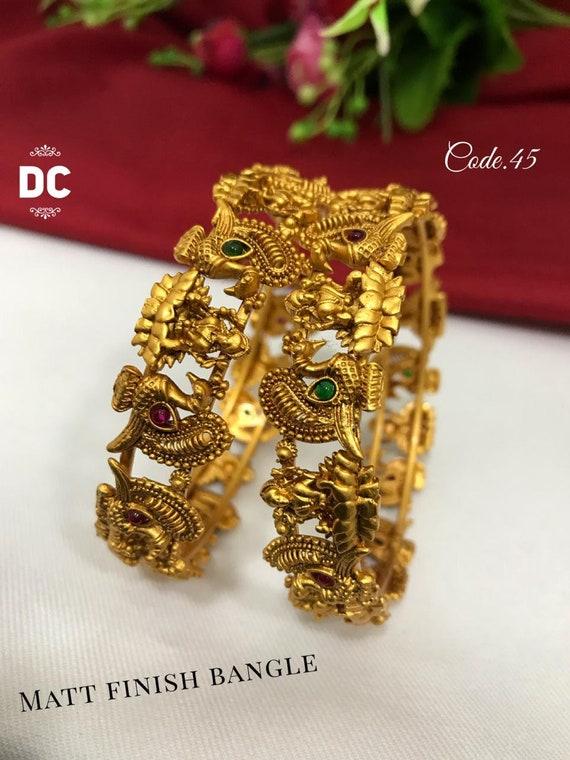 Wedding Indian jewelry Matt finish Gold plated Traditional temple set