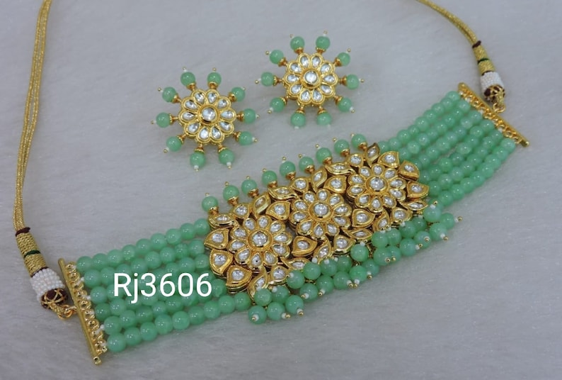 indian Jewelery,wedding ethnic jewellery Kundan Pearl Choker Earrings Set Wedding Bridal Jewellery Gift For Her