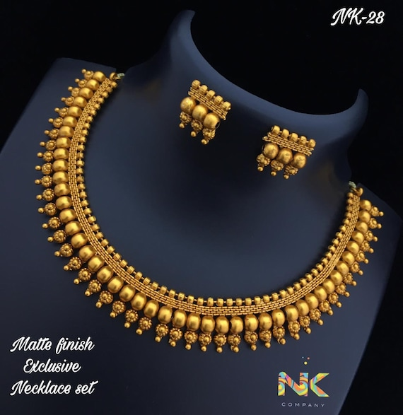Indian Gold Necklace Set in Atique Gold and Matte Finish