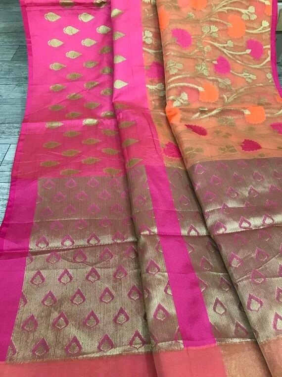 Bnarasi Silk Saree Ethnic Heavy Soft Banarasi SILK Saree Bridal Occasional Wear Party Wedding Sari Wear With Stitched Blouse For Women