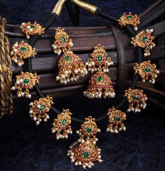 Matt gold Temple Mango Necklace Choker Set Bridal Choker Set For Women south Indian Ethnic Jewelry Wedding Gold Plated Jewelry Set