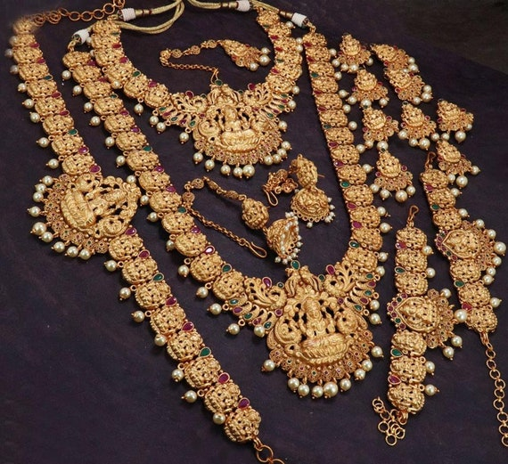 South Indian Jewelrygold Plated Bridal Necklace Set With Etsy