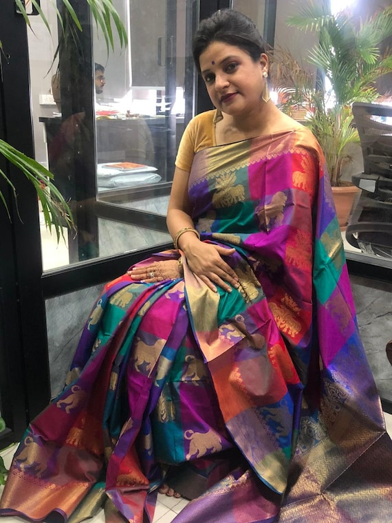 NEW Pure SILK COTTON Saree Bridal Christmas Gift Occasional Wear Party Wedding Sari Wear with Running Blouse