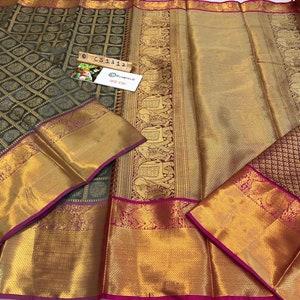 Off White FREE SHIPPING/_Ethnic Kanchipuram Silk Saree With Zari Woven Border With Contrast Barcode Blouse Wedding Wear Indian Women Sari