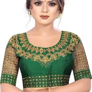 Off white Mirror Sleeves Designer Rajasthan Embroidery Readymade Choli Blouse Party Wedding Bridal Saree Stitched Crop Sari Top  Silk Women
