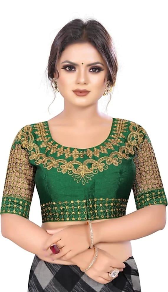 Pink Designer Rajasthani Wedding Readymade Blouse Party Wear Saree Stitched Crop Sari Cold Shoulder Top New Banglori Silk Women
