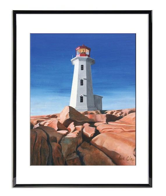 Lighthouse At Peggys Cove Art Print Home Decor Wall Art Poster C