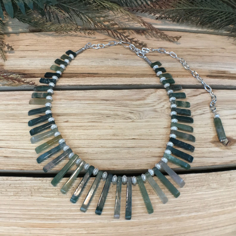 Moss Agate Collar~Warrior Jewelry ~Elven Necklace~Artisan Statement Necklace~Bohemian~Agate Necklace~Sterling Silver Jewelry
