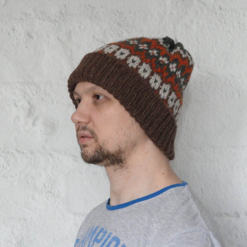 f29ec4c0493c2d Hand Knitted Hat Slouchy Beanie for men Wool Hat Winter Hat | Etsy