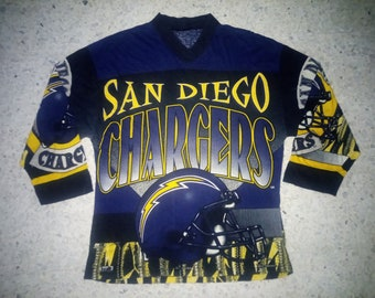 Vtg NFL San Diego Chargers all over print shirt b459d8b39