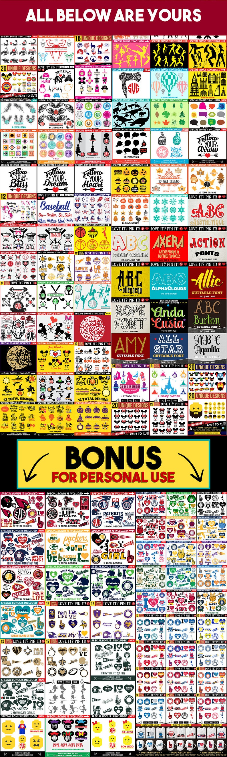 ALL IN SHOP Svg Files  Unlimited Commercial Use  Cricut Silhouette Sublimation Transfer  Easy Instant Download Disney Mermaid Unicorn /& More
