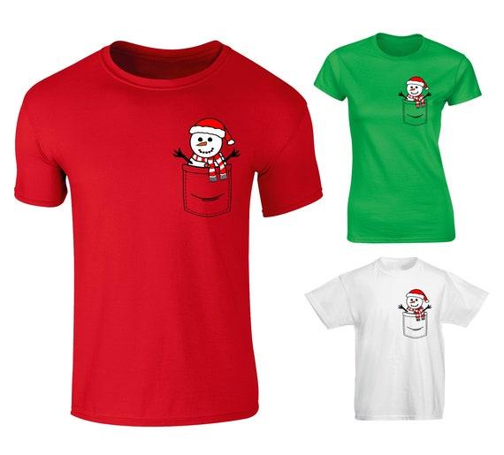 Kids Childrens Snowman In Pocket Print Christmas Festive T-shirt 5-13 Years
