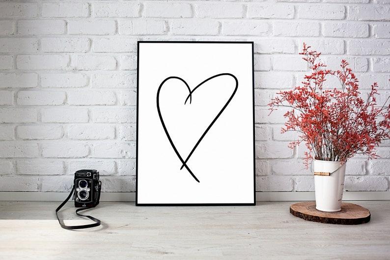 Art Print-Wall Painting-Nursery-Modern Art-Heart-Minimalist-Scandinavian-Northern-Typography-Family-Love-Positive-Line Art-DINA 4