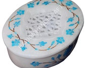 4 quot x3 quot White Marble Jewellery Keepsake Filigree Marquetry Inlay Work Gifts