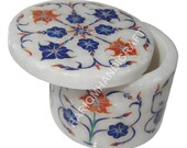 2 quot x2 quot Marble Jewelry Ring Boxes Beautiful Semi Precious Stones Marquetry Inlay Art Engagement Gifts