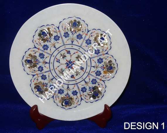 Marble Plate Mughal Inlay Work Pietra Dura Handmade Crafts Home Decor and Gift