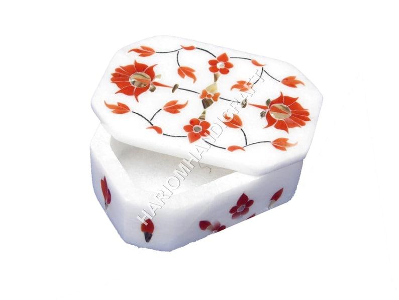 4x3x2 White Marble Jewelry Box Carnelian Gemstone Floral Inlay Beautiful Art Gift For Girls