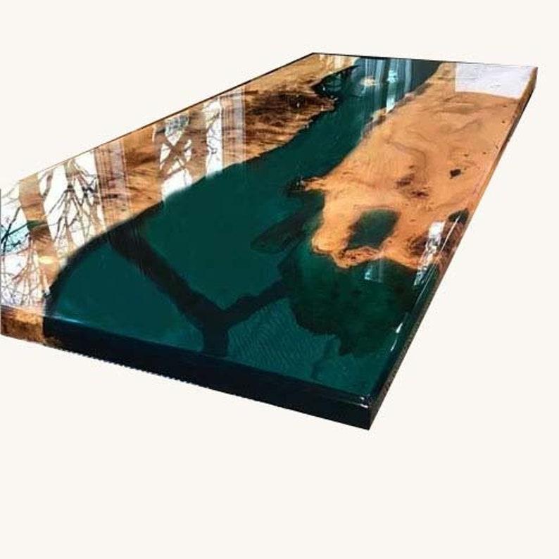Emerald Epoxy Geode Table